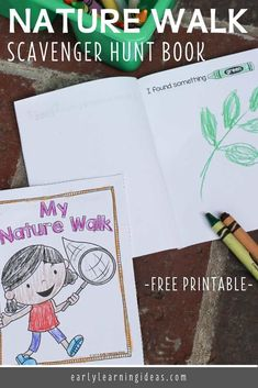 Use these free printable nature scavenger hunt books to encourage kids to write, draw, and read while exploring their world. Preschool Scavenger Hunt, Preschool Activities At Home, Nature Scavenger Hunts, Kindergarten Themes, Earth Day Activities, Nature Activities, Kindergarten Science, Preschool Lessons, Spring Activities