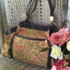 Beautiful Vintage Tapestry floral & Leather bag. Dramatic boho chic statement bracelet. Photo speaks for itself. Rich brown suede braided into Goldtone with gorgeous beading detail. Sturdy lobster clasp and adjustable from 7 to 20 inches. Extremely unique!! Boutique item Jewelry Bracelets