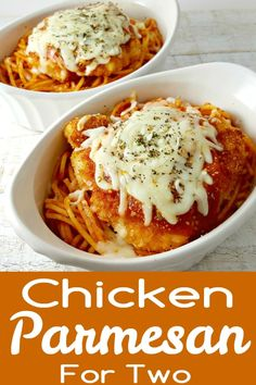 Chicken Parmesan Recipe for Two - is the best recipe, easy and quick too. The chicken is coated in breadcrumbs and Parmesan cheese, then fried crispy and golden brown, served in individual dishes on top of spaghetti and smothered in extra sauce and melted Mozzarella and Parmesan cheese. This is one our all time favorite go-to dinners and is perfect for date night dinner or weekend lunch. #ChickenParmesan #chicken #parmesan #DinnerForTwo #LunchForTwo #RecipesForTwo via @ZonaCooks