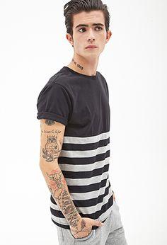 Colorblocked Stripe Tee | 21 MEN - 2000085050