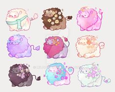 Draw Lions [CLOSED] Mini lions set auction by miloudee - Cute Kawaii Animals, Cute Animal Drawings Kawaii, Cute Drawings, Cute Fantasy Creatures, Cute Creatures, Kawaii Doodles, Kawaii Art, Wallpaper Fofos, Character Art