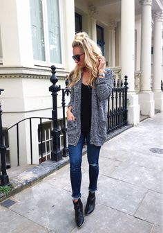 favorite fall basics: cozy cardi, ripped denim, and a classic black bootie  // everything in this look is under $100  #ltkunder100 FTW on a Tuesday  plus I linked two other great cardis under $100  shop here  @liketoknow.it http://liketk.it/2ppgH #liketkit