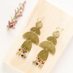 Large Circle Faux Crystal Statement Earrings Lightweight Boho GoldSilver- Gifts for Her Dangle Nickel Free Handmade Polymer Clay