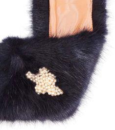 Lacy navy faux fur shawl