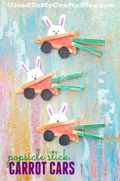 Popsicle Stick Carrot Cars – Easter Kids Craft Tutorial - Spring Crafts For Kids Spring Crafts For Kids, Daycare Crafts, Bunny Crafts, Family Crafts, Easter Crafts For Kids, Toddler Crafts, Preschool Crafts, Art For Kids, Unicorn Crafts