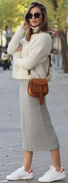 knitted pencil skirt looks - Lady Addict #knitted