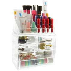 Großer Kosmetik Aufbewahrung Organizer,Make Up Organizer - 3 Ebenen 6 Schubladen Acryl