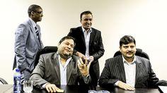 Family and friends: Ajay and Atul Gupta (seated) with President Jacob Zuma's son,Duduzane Zuma (back left). Photo: Gallo Images/City Press/Muntu Vilakazi