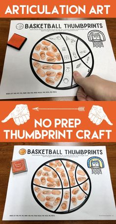 Sport themed articulation thumbprint Activity. No Prep speech therapy