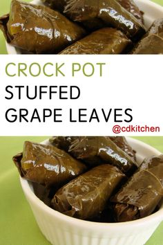 Toss the spiced rice-stuffed leaves in slow cooker with water and lemon juice and you've got the perfect Mediterranean appetizer or snack. Great hot or cold! Mediterranean Appetizers, Mediterranean Dishes, Armenian Recipes, Lebanese Recipes, Slow Cooker Recipes, Crockpot Recipes, Cooking Recipes, Grape Leaves Recipe, Stuffed Grape Leaves