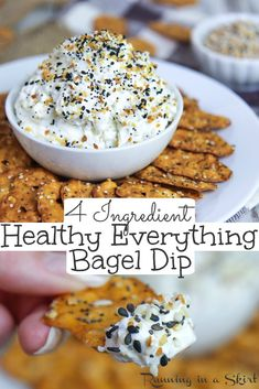 Nov 2019 - Healthy Everything Bagel Dip recipe - only 4 ingredients! Uses a mix of whipped cream cheese and greek yogurt for a lighter but still creamy dip. Make your own everything bagel seasoning mix or use Trader Joes! / Running in a Skirt Healthy Dips, Healthy Appetizers, Appetizer Recipes, Snack Recipes, Healthy Munchies, Healthy Eating, Healthy Dip Recipes, Dip Appetizers, Appetizer Dishes