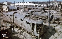 A destroyed German(?) train.