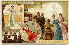 Postcards of the year 2000, c.1900 - Theater in your home, televised broadcasting. Retronaut