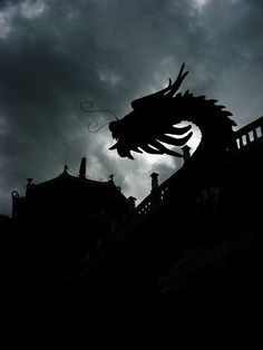 Same dragon at the Taoist Temple in silhouette by dbgg1979, via Flickr