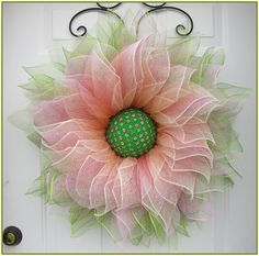 Items similar to Deco Mesh Flower Wreath, Summer Wreath, Spring Wreath, Front Door Wreath, with Faux Green and Pink Gems in the Center by A Noble Touch on Etsy Peacock Wreath, Purple Wreath, Wreath Tutorial, Flower Tutorial, Diy Tutorial, Gold Flowers, Diy Flowers, Nylon Flowers, Flower Diy