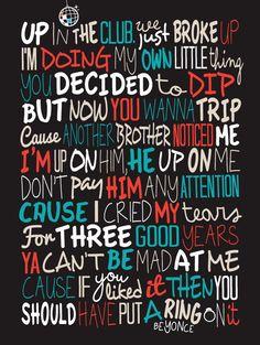 Beyonce  Single Ladies Poster Song Lyrics Grafik Musik