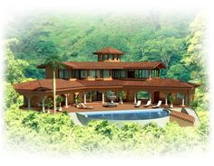 Rendering of our Future B&B Building our dream one brick at a time! Costa Rica, Forest Habitat, Adventure Activities, Tropical Garden, Log Homes, B & B, Habitats, Brick, Cottage