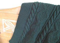 AFGHAN Hand Knit Deep SEA GREEN 52 x 70 Sabina by Jackubina, $200.00