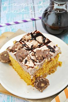 Pumpkin Nutella Poke Cake