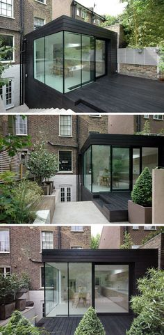For this renovated house extension, the designers went with a two storey black box that& covered in black timber. A patio was also included to match the extension and provides a seamless look. House Extension Design, Glass Extension, Roof Extension, Extension Google, Modern House Design, Contemporary Design, Conservatory House, House Extensions, Exterior Design