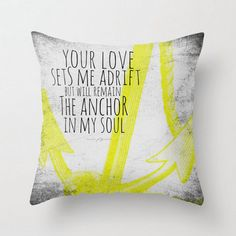 Anchor Throw Pillow Mint or Yellow 16 Square Nautical Decor
