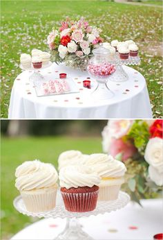 red velvet cupcakes for wedding dessert #weddingdessert #cupcakes #weddingchicks http://www.weddingchicks.com/2014/02/10/elegant-valentines-day-ideas/