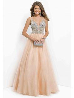 V-neck Sleeveless Beading Sequin Ball Gown Tulle Floor-length Prom Dress