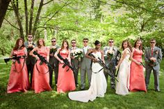 The theme was not 'shotgun' wedding. When the groom is in the military however, sometimes you just need to spice up your wedding pictures! Zombie Wedding, Wedding Humor, Gangster Wedding, Funny Wedding Photos, Wedding Pictures, Engagement Pictures, Dream Wedding, Wedding Day, Wedding Stuff