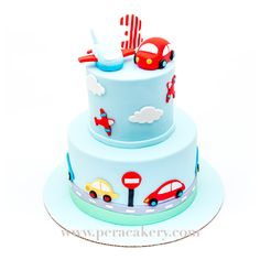 Car and airplane cake