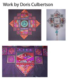 """These miniature quilts were made using the designs from """"Inca"""" you can see the machine embroidery designs at http://www.stitchingart.com"""