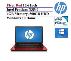 2016 HP Flyer Red 15.6 Inch High Performance Laptop (Intel Pentium Quad-Core N3540 Processor up to 2.66GHz 4GB RAM 500GB Hard Drive DVD Drive HD Webcam Windows 10 Home) (Certified Refurbished)