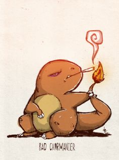 Bad Charmander by Douglas Ferreira Trippy Cartoon, Cartoon Smoke, Dope Cartoon Art, Ghibli, Pokemon Tattoo, Graffiti Wall Art, Sketch Tattoo Design, Marijuana Art, Stoner Art