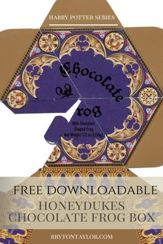honeydukes chocolate frog box, plus lots of HP printables and recipes