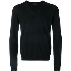 Prada V-neck jumper (970 BRL) ❤ liked on Polyvore featuring men's fashion, men's clothing, men's sweaters, black, mens v neck sweater, mens long sleeve v neck sweater, prada mens sweater, mens slim fit v neck sweater and mens slim fit sweaters