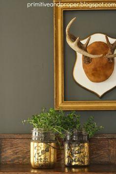 Gold Leaf Mason Jar Planters & Spring Break - Primitive and Proper