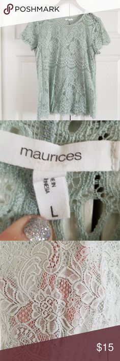 Maurices Mint Lace Top •Reasonable offers welcome• •Check out my closet to bundle and save!•  Cute, sexy, flirty spring/summer lace top Like new. Only worn a couple of times Mint green Great for casual wear or dressy Open slit lower back Maurices Tops Blouses