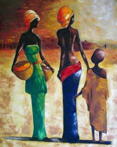3 Canvas Art, Acrylic Painting Canvas, African Art Paintings, Contemporary African Art, Black Art Pictures, Africa Art, Tribal Art, Art Techniques, Painting Inspiration