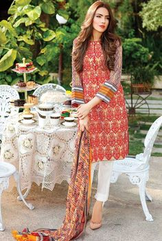 Shirt: Fabric: Printed Lawn Shirt. Shalwar/Trousers: Fabric: Plain Trouser. Dupatta: Fabric: Printed Chiffon Dupatta.