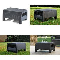 Outdoor Rattan Table Small Coffee Drinks Garden Furniture Coffee Table Graphite Garden Furniture, Outdoor Furniture, Outdoor Decor, Corfu, Coffee Drinks, Graphite, Rattan, Ottoman, Patio