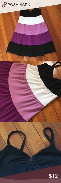 """LOFT Dress Tiered dress of purple, black, and white. Chest  has a small keyhole. Good, used condition. Colors are slightly faded from washing but definitely still life left in it! A great dress to throw on during a hot summer day to run errands, grab lunch with girlfriends, etc. 14"""" across chest. 27"""" armpit to bottom hem. Straps are adjustable. LOFT Dresses Midi"""