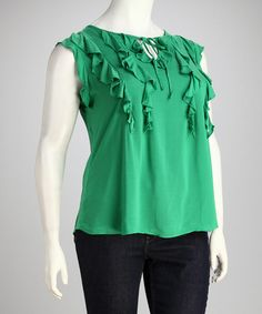 Take a look at this AntiliaFemme Green Plus-Size Sleeveless Top by AntiliaFemme on #zulily today!