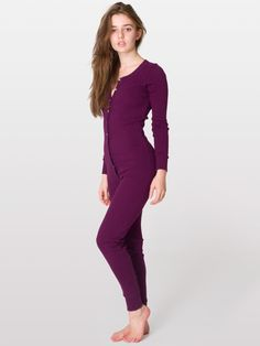 American Apparel - Unisex Rib Henley One-Piece #layering #lovehaterelationship with #americanapparel