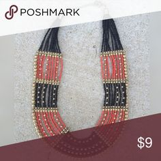 """Beaded Statement Necklace Black, Orange & gold beads make a roughly 1.5"""" bib! Lobster claw closure with extender loops! Never worn! Jewelry Necklaces"""