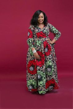 Neema Wrap Around African Print Dress Long African Dresses, Latest African Fashion Dresses, African Print Fashion, Maxi Wrap Dress, Boho Dress, Wrap Around Dress, Tutu, Elie Saab, African Attire