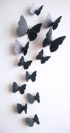 Kleurrijke 3D vlinders zwart. Bestel ze eenvoudig en snel in onze webshop www.stickerkamer.nl
