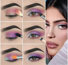 Kylie Jenner Augen Make-up Tutorial! - Make-up Kylie Jenner Eyes, Maquillage Kylie Jenner, Makeup Eye Looks, Eye Makeup Steps, Purple Makeup Looks, Eyeshadow Looks, Colorful Eye Makeup, Simple Eye Makeup, Kylie Jenner Makeup Tutorial