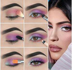 Kylie Jenner Augen Make-up Tutorial! - Make-up Makeup Eye Looks, Eye Makeup Steps, Purple Makeup Looks, Colorful Eye Makeup, Simple Eye Makeup, Kylie Jenner Eyes, Kylie Jenner Makeup Tutorial, Kylie Makeup, Kylie Jenner Makeup Step By Step