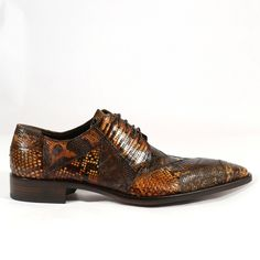 Jo Ghost Italian Mens Shoes Acapulco Roccia Tejus Brown Python / Lizard Oxfords (JG2005)