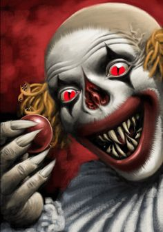 Evil Clown~~~ neat idea for makeup---pull off nose to scare. similar to having a cute clown face pull off mask to show scary face!!