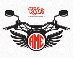 Moto Rider Monogram Frame (DXF, EPS, SVG, Studio3) moto Cut File per l